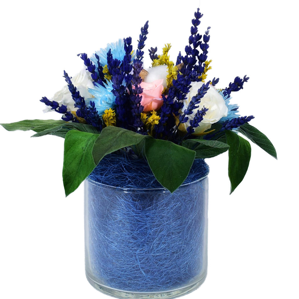 Букет из стабилизированных цветов живых купить роза ваза шар стеклянная