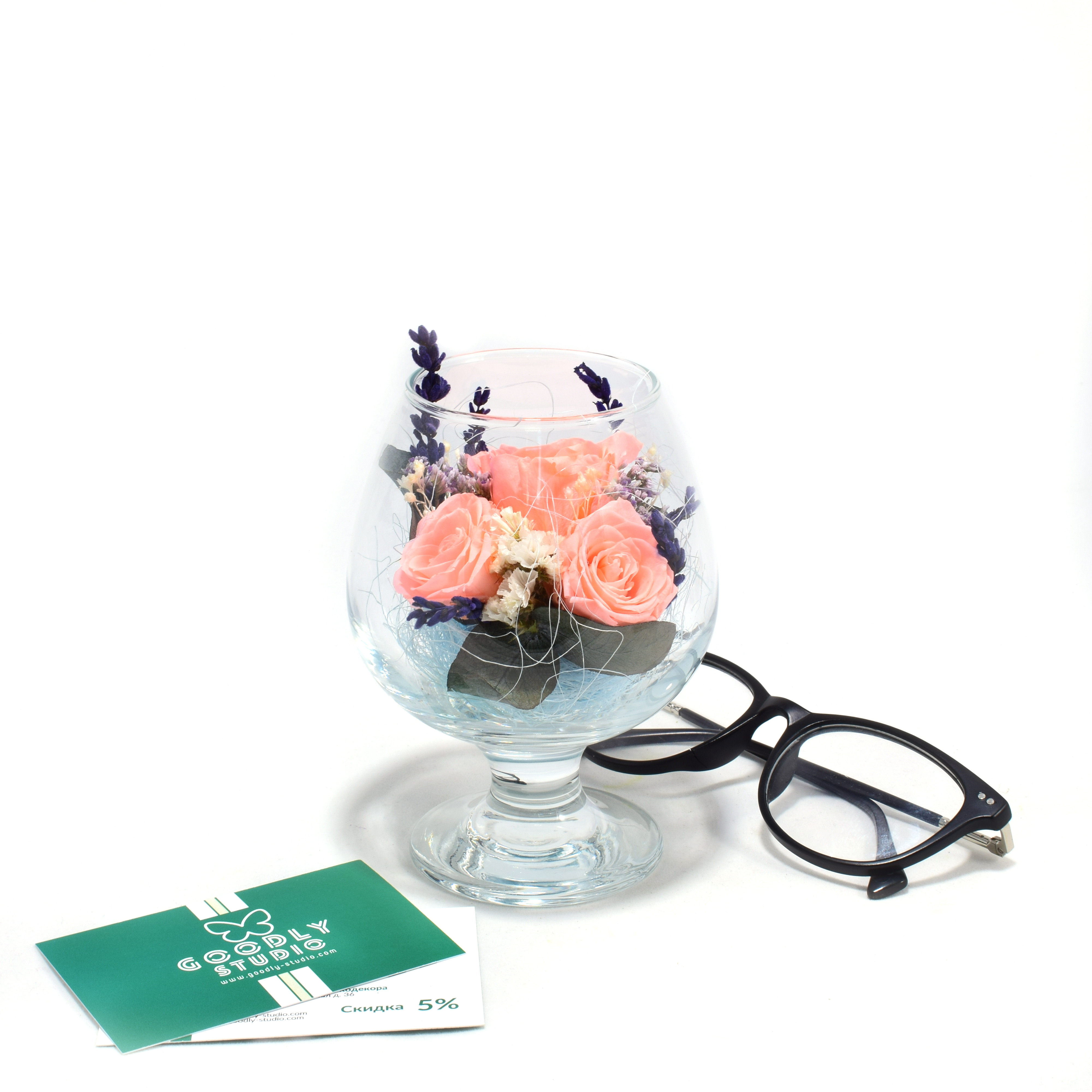 Стабилизированные цветы в стекле - Pink