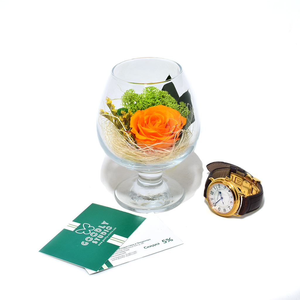 Стабилизированные цветы в стекле - Orange