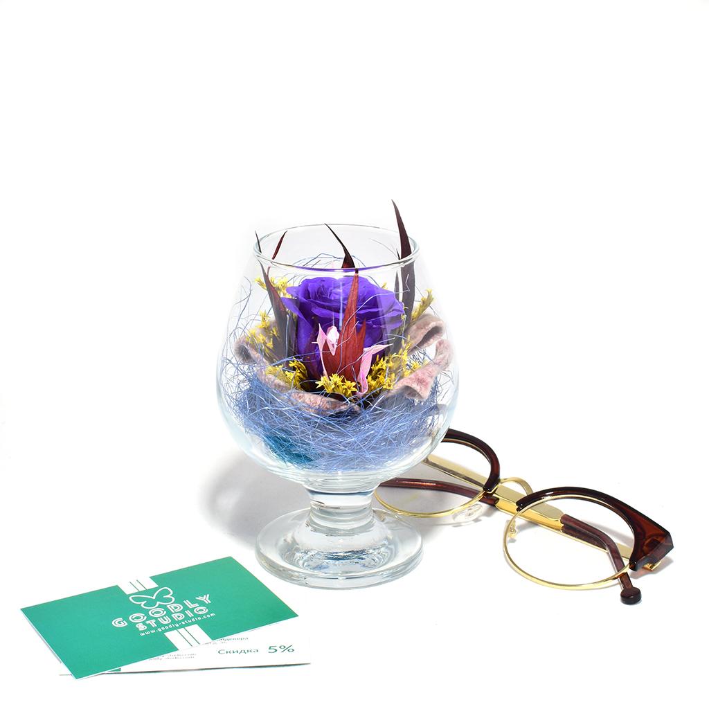 Стабилизированные цветы в стекле - Deep Purple