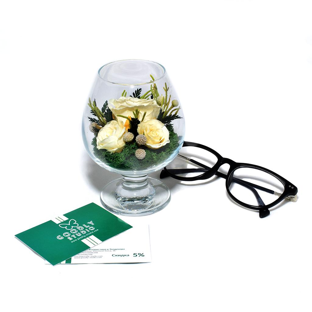 Стабилизированные цветы в стекле - Весна