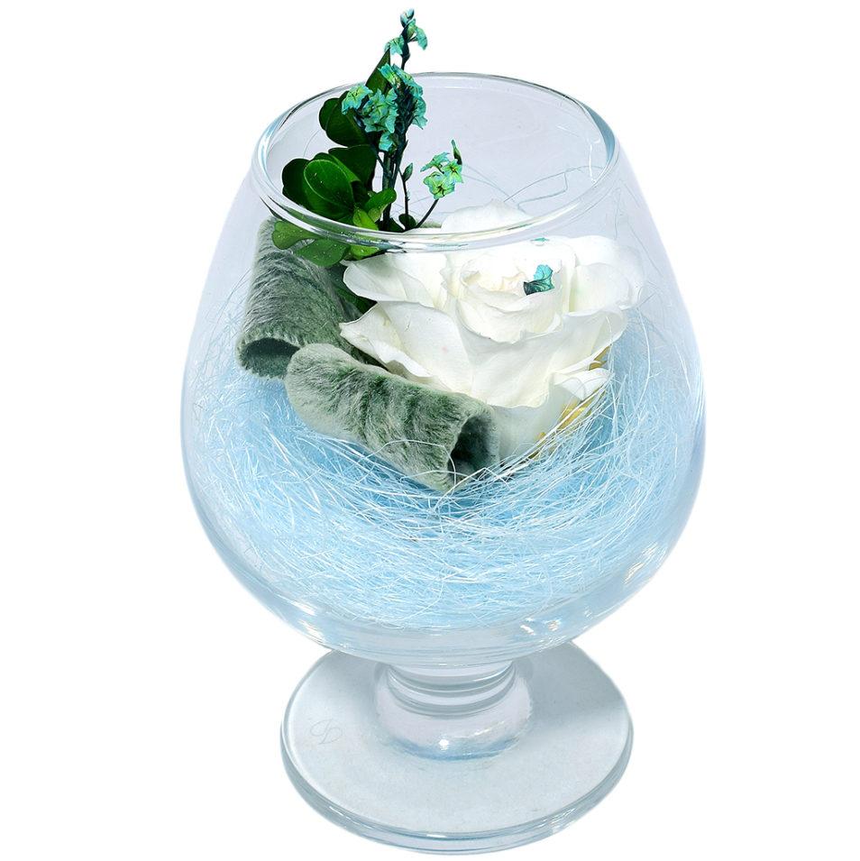 Стабилизированные цветы в стекле вечная роза композиции купить