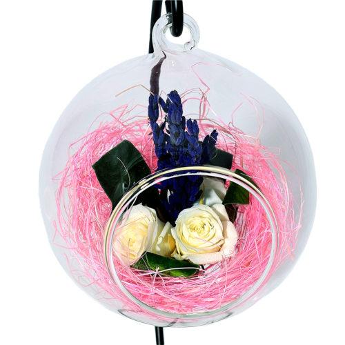 Композиция в стекле вечная роза купить стабилизированные цветы