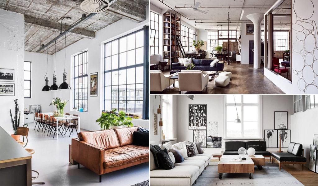 Стиль лофт мебель интерьер дизайн декор картина светильник стол диван