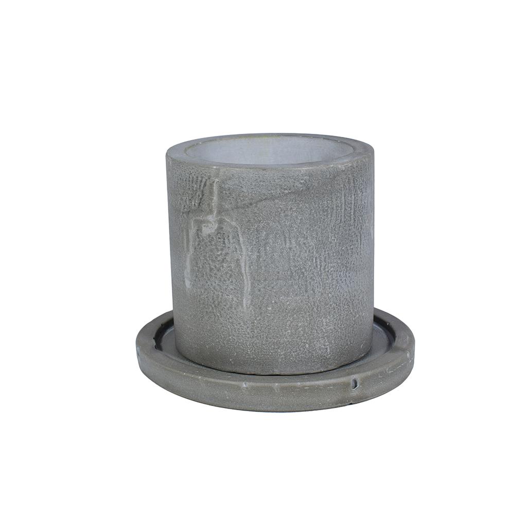 Горшок из бетона - Цилиндр 1.0 + поддон