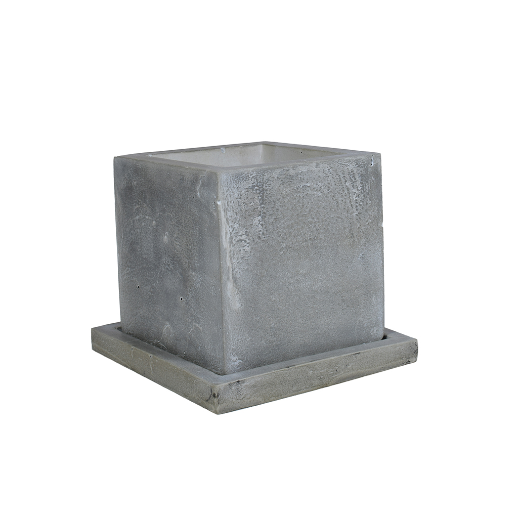 Горшок из бетона - Куб 1.0 + поддон