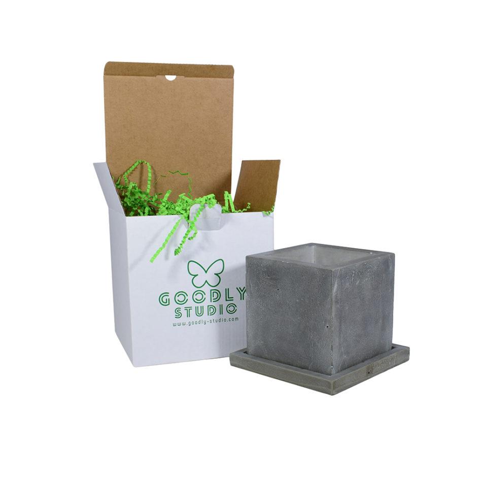 Горшок из бетона куб поддон купить Москва декоративный не дорого