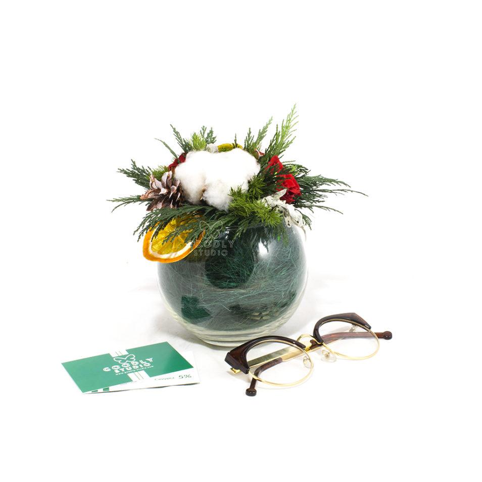 Новогодний букет из стабилизированных цветов