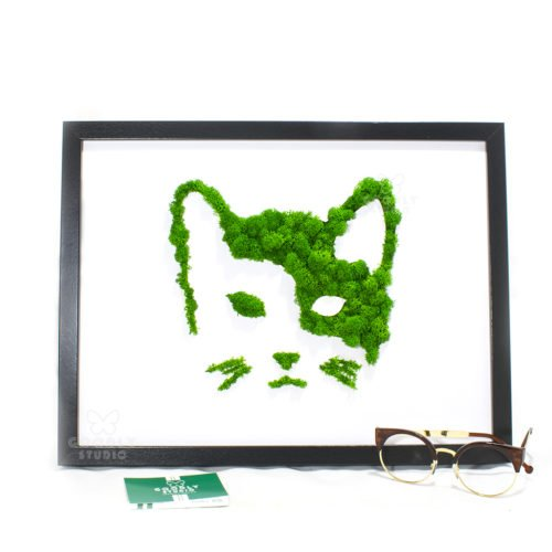 картина из мха кошка