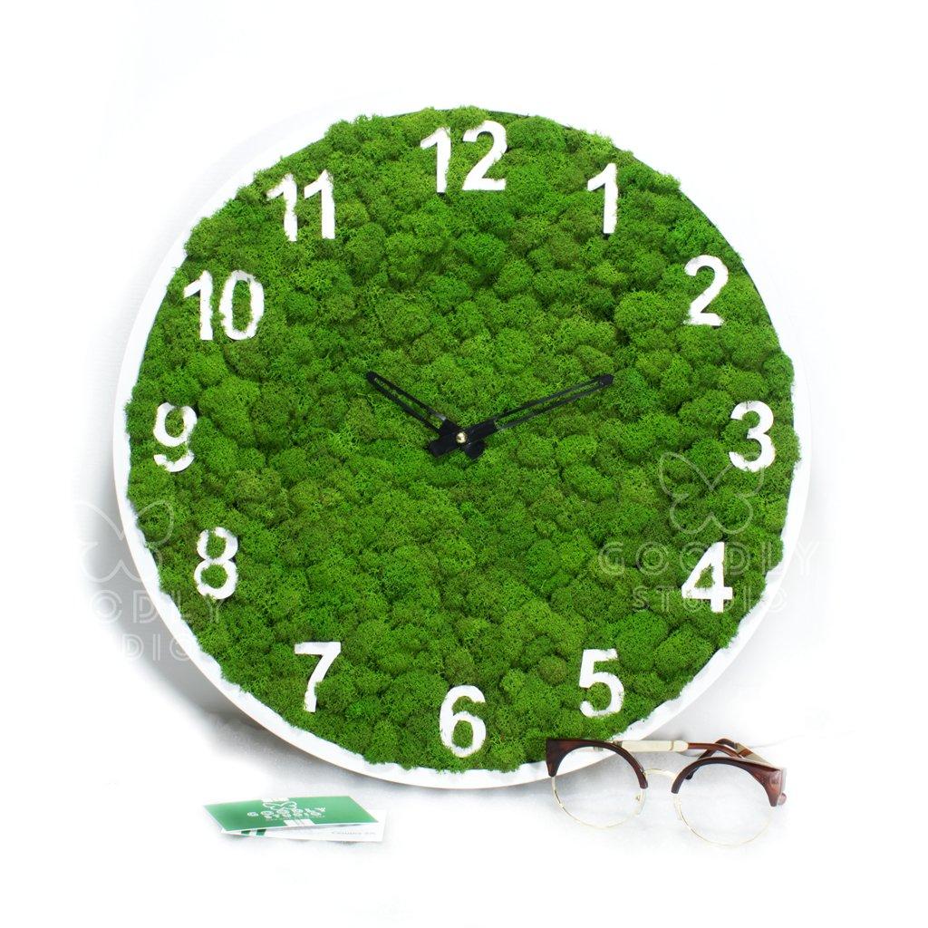 Настенные часы из дерева и мха 6.0