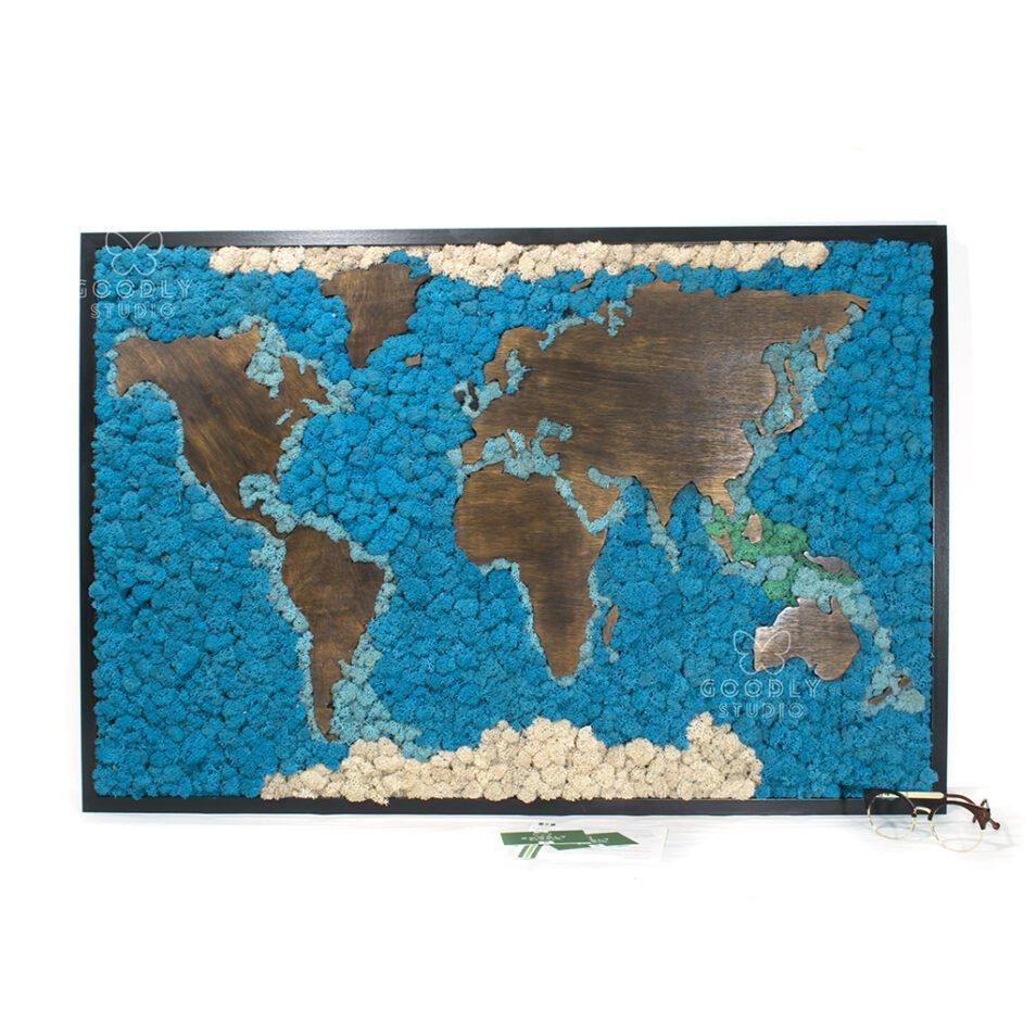 Картина из мха - Карта мира