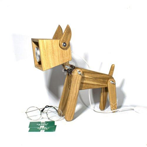 Светильник из дерева Собака